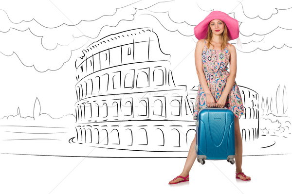 Jonge vrouw Rome Italië meisje gelukkig Stockfoto © Elnur