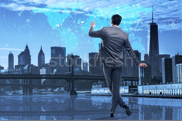 üzletember kisajtolás gombok közösségi média üzlet hálózat Stock fotó © Elnur