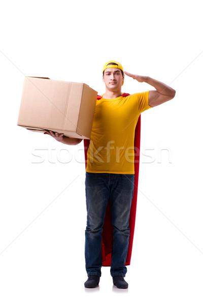 Szuperhős házhozszállítás fickó izolált fehér mosoly Stock fotó © Elnur