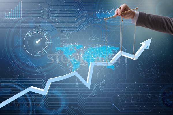 üzletember növekedés gazdaság üzlet kéz bár Stock fotó © Elnur