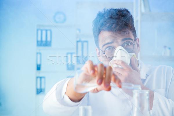 Grappig mad scheikundige werken laboratorium arts Stockfoto © Elnur