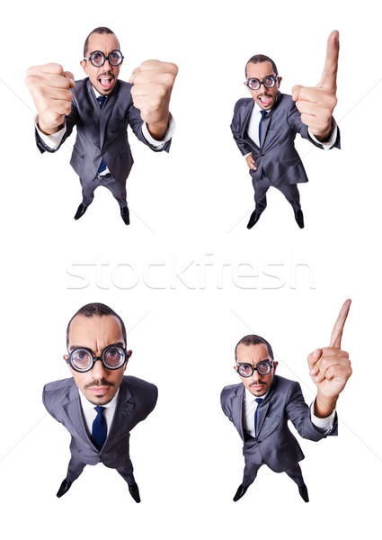 Funny nerd businessman isolated on white Stock photo © Elnur