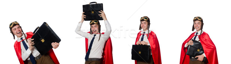 The funny here with briefcase isolated on the white Stock photo © Elnur