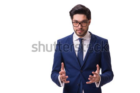 Businessman holding virtual object isolated on the white Stock photo © Elnur