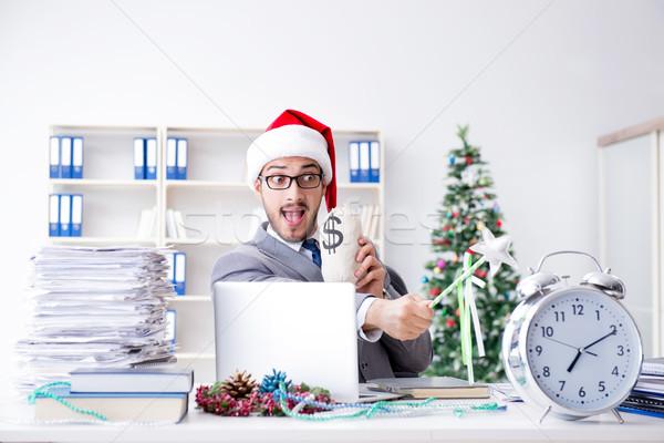 Stockfoto: Jonge · zakenman · vieren · christmas · kantoor · geld