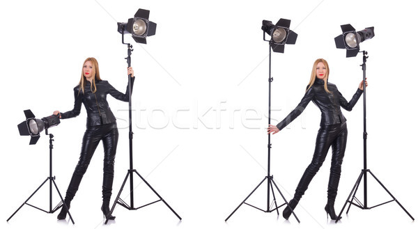 The collage of woman during photo shoot isolated on white Stock photo © Elnur