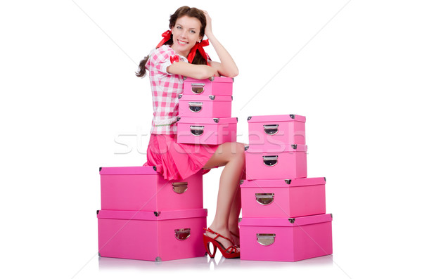 Jonge vrouw opslag dozen witte vrouw partij Stockfoto © Elnur
