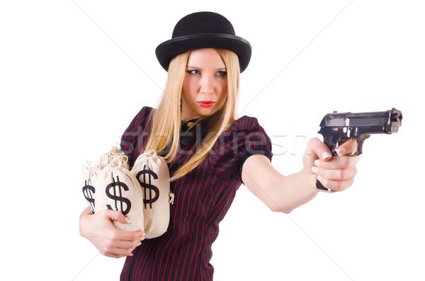 Vrouw gangster pistool geld sexy model Stockfoto © Elnur