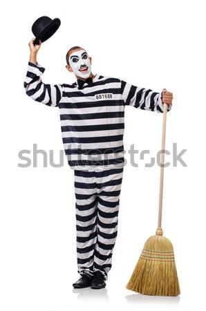Prisioneiro vassoura isolado branco lei cinema Foto stock © Elnur
