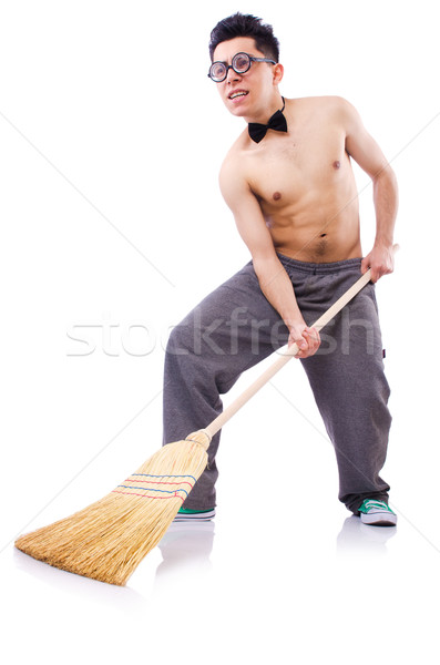 Funny man with broom on white Stock photo © Elnur