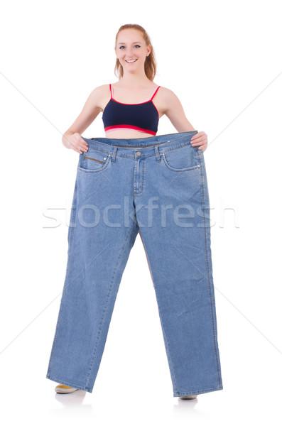 Femme jeans régime fille heureux Photo stock © Elnur