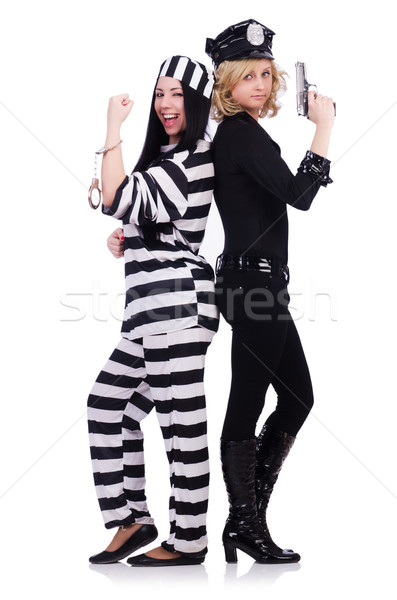 Prisoner and police isolated on the white Stock photo © Elnur