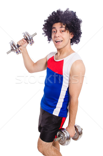 Funny man exercising with dumbbells Stock photo © Elnur