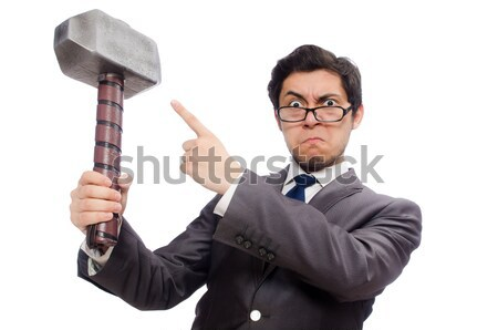 Funny businessman with axe on white Stock photo © Elnur