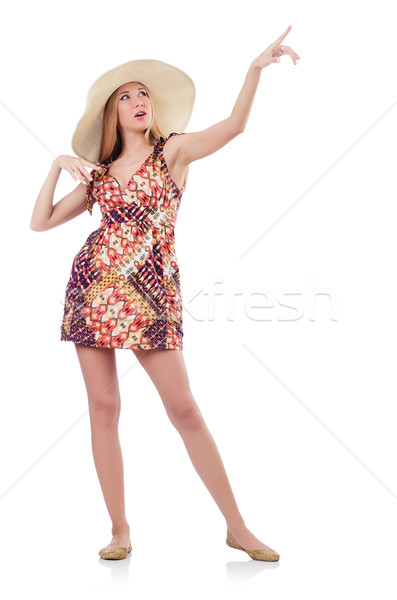 Beautiful woman in summer dress pressing virtual button isolated Stock photo © Elnur