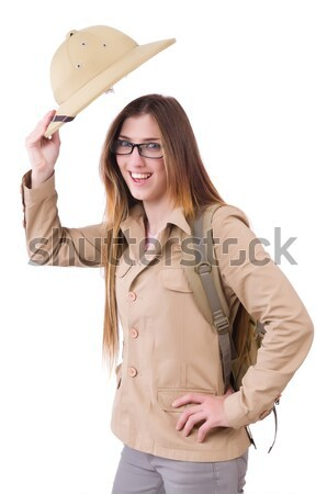 Young aiming cowgirl isolated on white Stock photo © Elnur
