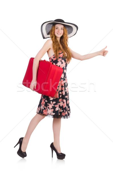 Stockfoto: Reizen · vakantie · bagage · witte · meisje · gelukkig