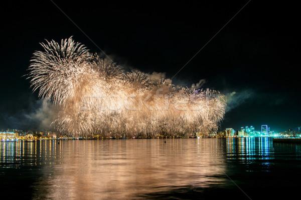 Fireworks in Baku Azerbaijan on Independence day Stock photo © Elnur