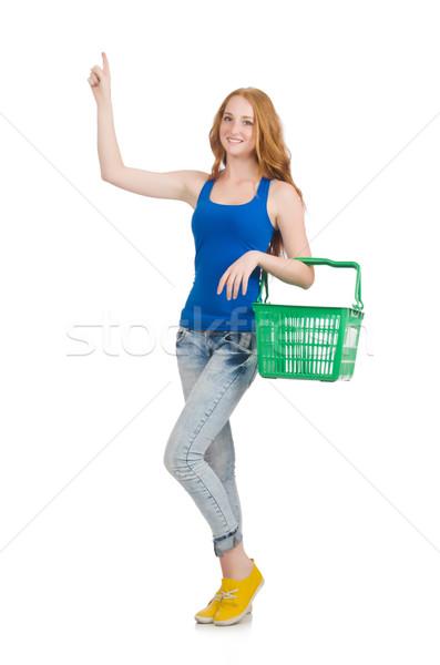 женщину торговых супермаркета изолированный белый бизнеса Сток-фото © Elnur
