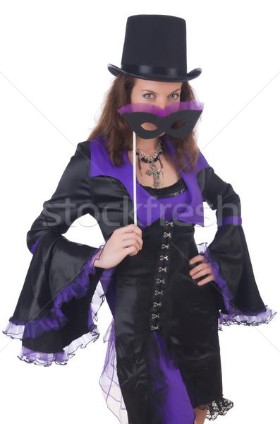 девушки фиолетовый черное платье маске изолированный Сток-фото © Elnur