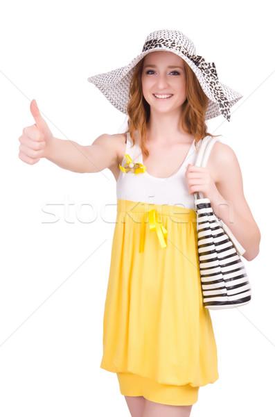 Młoda kobieta żółty lata sukienka odizolowany biały Zdjęcia stock © Elnur