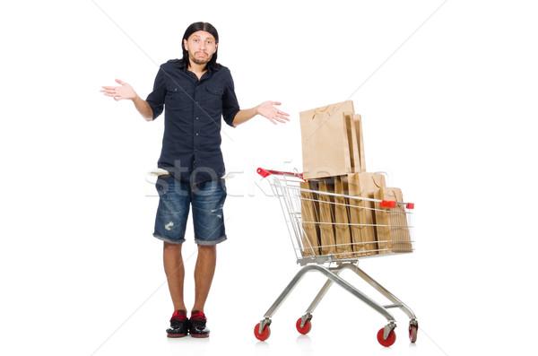 Man shopping with supermarket basket cart isolated on white Stock photo © Elnur