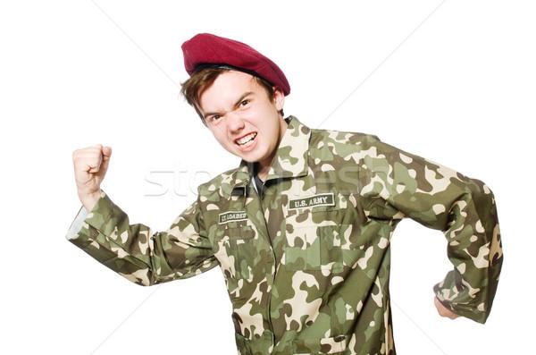 Engraçado soldado militar homem fundo guerra Foto stock © Elnur