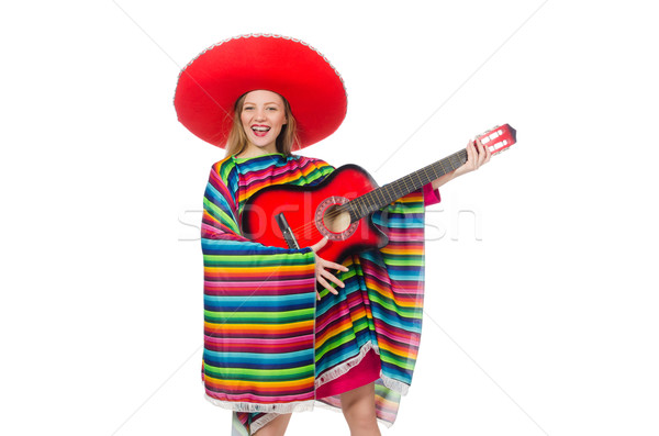 Pretty girl in mexican poncho with guitar isolated on white Stock photo © Elnur