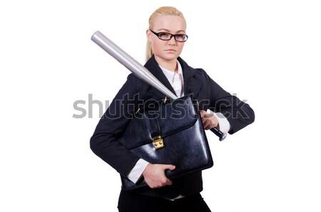 小さな ビジネスマン 武器 孤立した 白 幸せ ストックフォト © Elnur