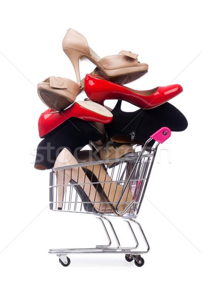 Nő cipők bevásárlókocsi fehér üzlet szexi Stock fotó © Elnur
