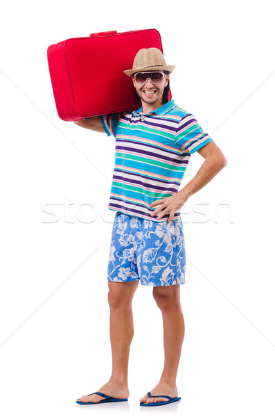 Man travelling with suitcases isolated on white Stock photo © Elnur