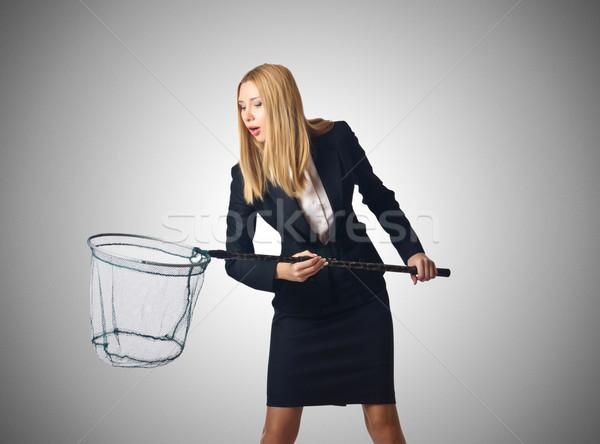 Frau net isoliert weiß Business Mädchen Stock foto © Elnur
