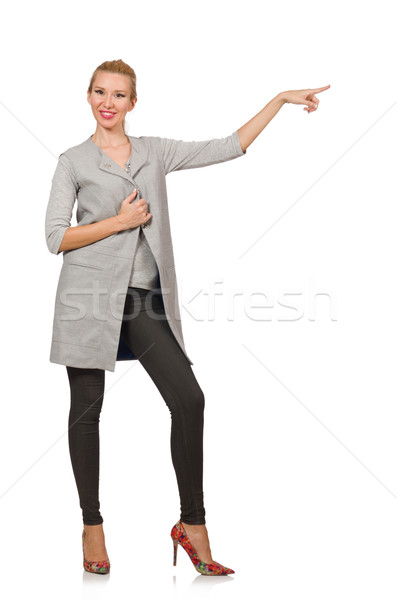 Mujer bonita gris blusa aislado blanco mujer Foto stock © Elnur