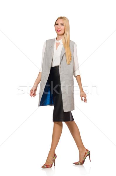 Pretty woman skóry spódnica odizolowany biały twarz Zdjęcia stock © Elnur