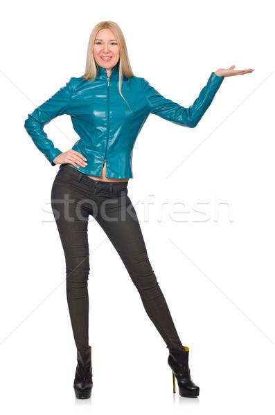 Mujer bonita azul chaqueta de cuero aislado blanco moda Foto stock © Elnur