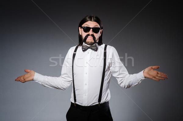 Uomo baffi occhiali da sole grigio moda modello Foto d'archivio © Elnur