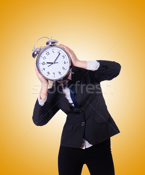 Mulher gigante relógio gradiente escritório trabalhar Foto stock © Elnur