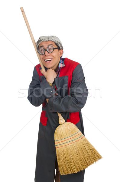 Funny woźny odizolowany biały kobieta domu Zdjęcia stock © Elnur