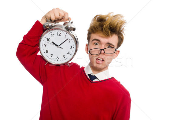 Student with alarm clock isolated on white Stock photo © Elnur