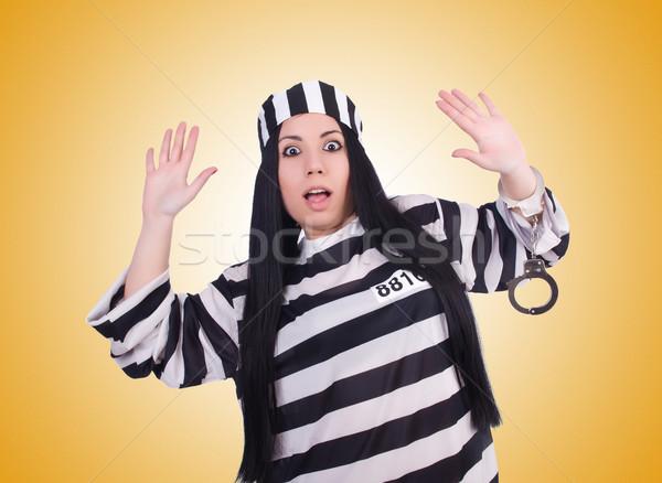 Stok fotoğraf: Tutuklu · çizgili · üniforma · beyaz · Metal · güvenlik