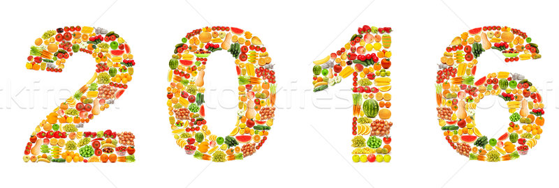Year 2016 made from fruits Stock photo © Elnur