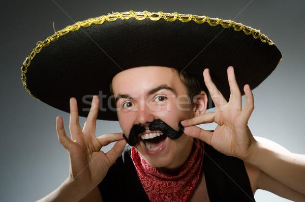 Személy visel szombréró kalap vicces buli Stock fotó © Elnur