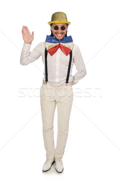 Adam komik yalıtılmış beyaz adam beyaz gözlük Stok fotoğraf © Elnur