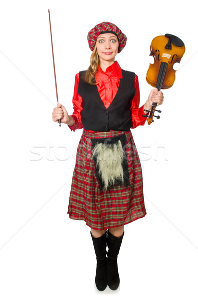 Stock photo: Funny woman in scottish clothing with violin