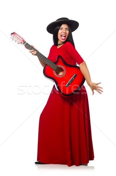 Zdjęcia stock: Kobieta · gry · gitara · odizolowany · biały · muzyki