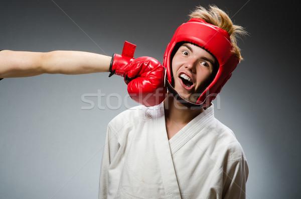 Funny boxer against dark background Stock photo © Elnur