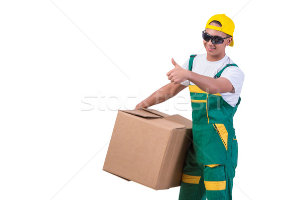 Young man moving boxes isolated on white Stock photo © Elnur