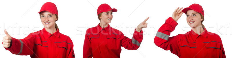 The woman in red overalls isolated on white Stock photo © Elnur