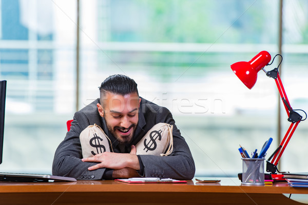 Happy businessman with money sacks in the office Stock photo © Elnur