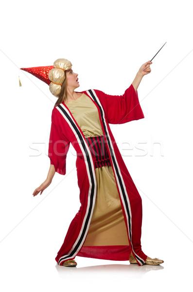 Kobieta czerwony odzież odizolowany biały tle Zdjęcia stock © Elnur
